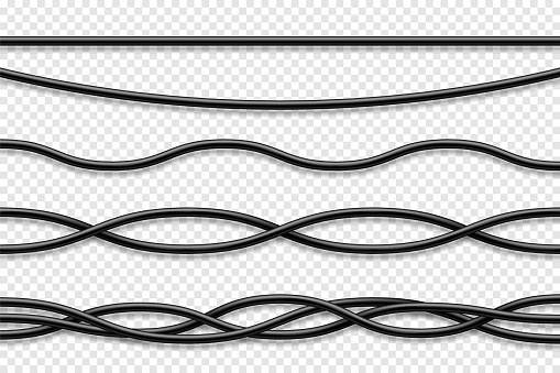 Flexible cables collection. Black electrical wire. Realistic power or network cable. Vector illustration