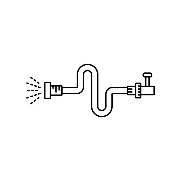 flexible hose connected to tap with jet of water. linear icon - tap water stock illustrations