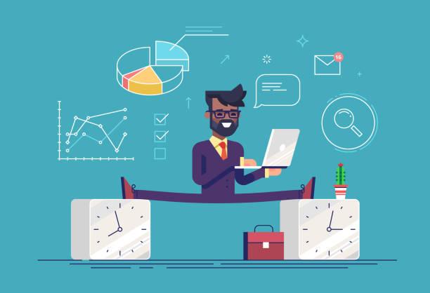 flexible arbeit zeitplan konzept. teilzeit arbeiten. schöne schwarze geschäftsmann zwischen 2 uhren. moderne business-charakter. flache vektor-illustration. - spagat stock-grafiken, -clipart, -cartoons und -symbole
