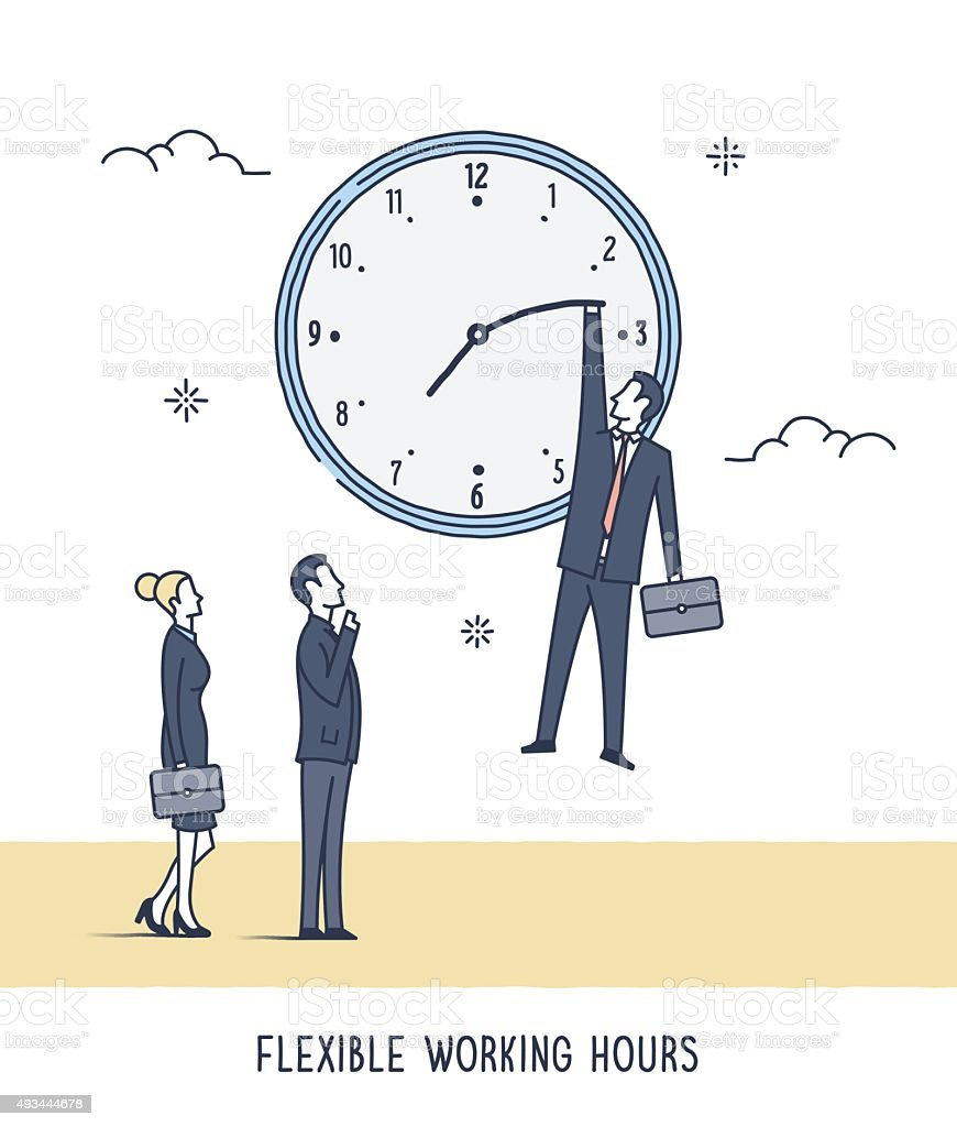 Flexible Working Hours vector art illustration