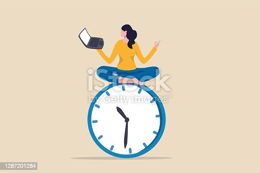 istock Flexible working hours, work life balance or focus and time management while working from home concept, young lady woman working with laptop while doing yoga or meditation on clock face. 1287201284