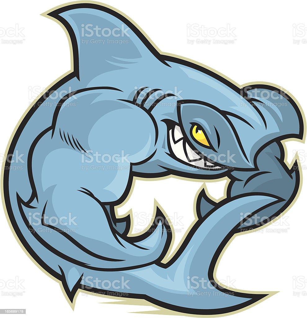 Flexing Hammerhead Shark vector art illustration