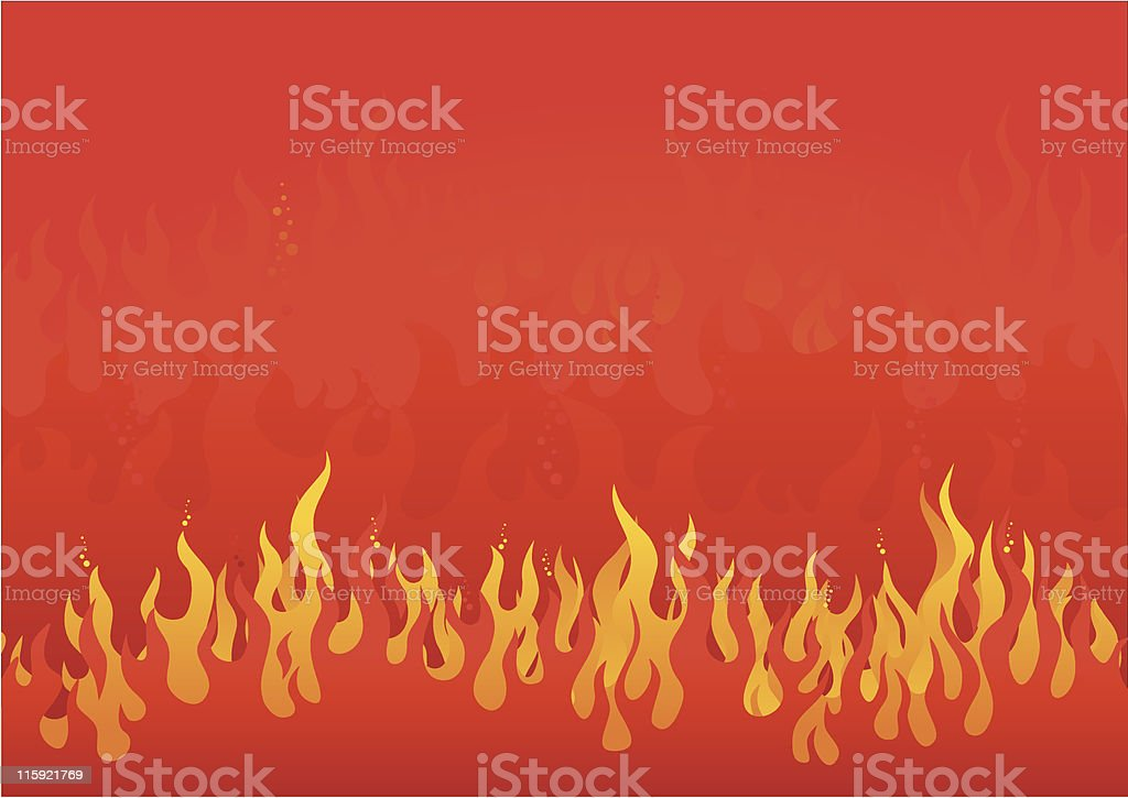 Flickering orange flame graphic on red background royalty-free stock vector art