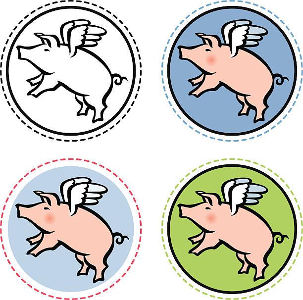 fliegendes plant mit flügeln im kreis - schweinebraten stock-grafiken, -clipart, -cartoons und -symbole