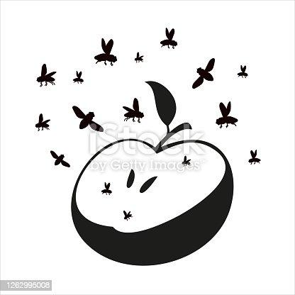 Flies or midges fly over the apple. Silhouette. Flies in flight.