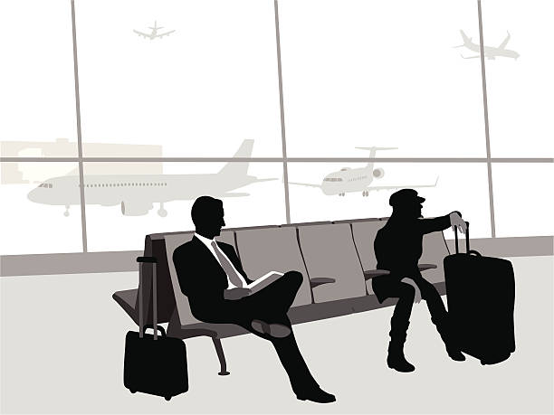 Flight 702 A-Digit airport silhouettes stock illustrations