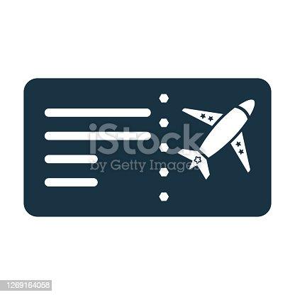istock Flight, air ticket icon, Vector graphics 1269164058