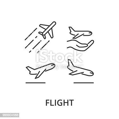 Flight, airplane vector icons