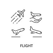 Flight, airplane vector icons