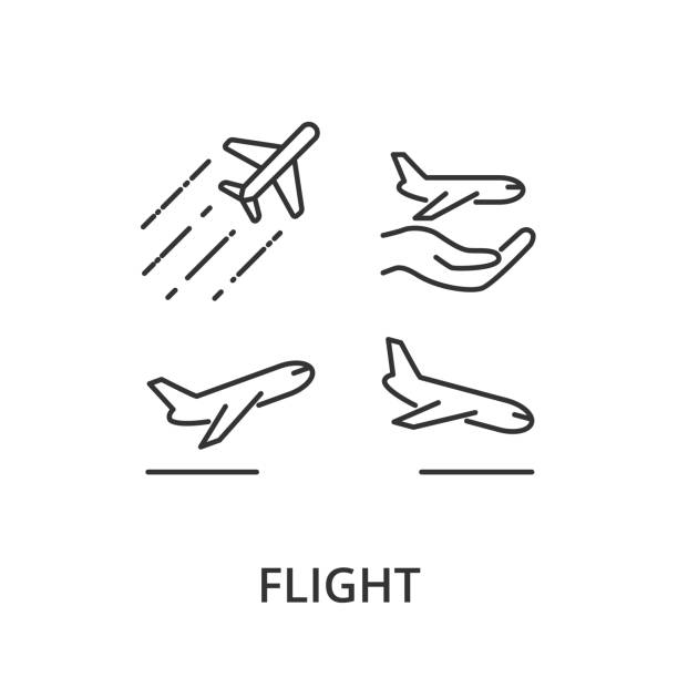 Flight, airplane vector icons Flight, airplane vector icons plane stock illustrations