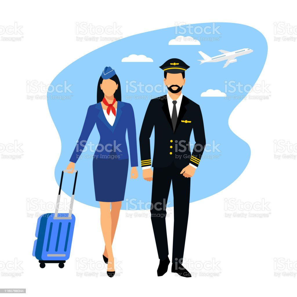 Flight Attendant And A Pilot Stewardess Dressed In Blue Uniform Stock  Illustration - Download Image Now