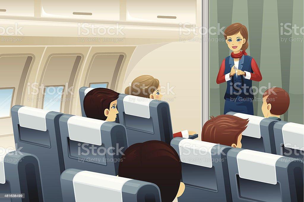 Flight attendant demonstrate how to fasten the seat belt vector art illustration