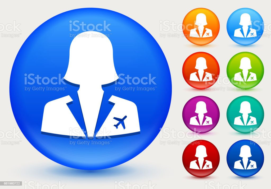 Flight Attendant Icon on Shiny Color Circle Buttons royalty-free flight attendant icon on shiny color circle buttons stock vector art & more images of airplane