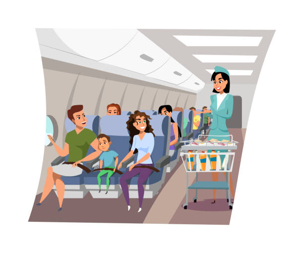 Flight attendant serving passengers illustration Flight attendant serving passengers illustration. Stewardess offering clients food and drinks on airplane board cartoon character. Airport crew member, hostess in professional uniform with trolley snack aisle stock illustrations