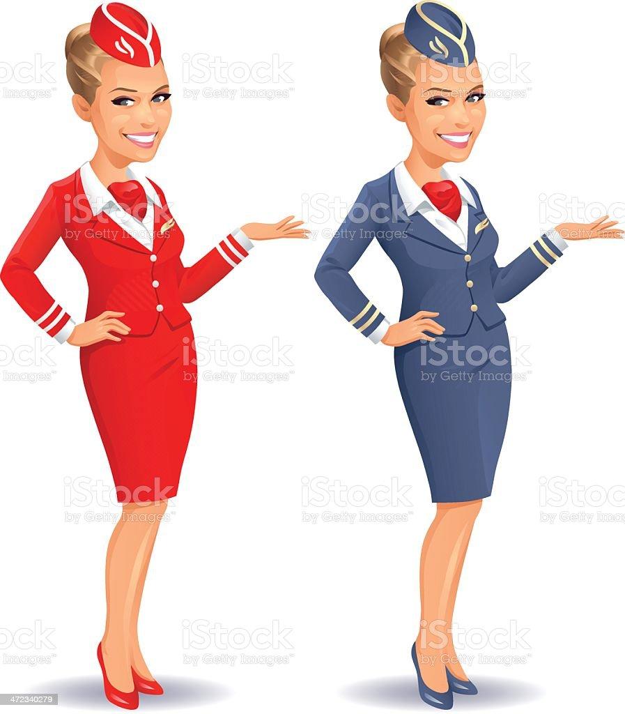 Flight Attendant vector art illustration