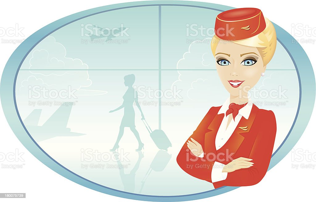 Flight Attendant with Airport background royalty-free flight attendant with airport background stock vector art & more images of adult