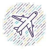Flight Booking Line Icon Illustration