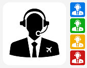 Flight Control Icon Flat Graphic Design