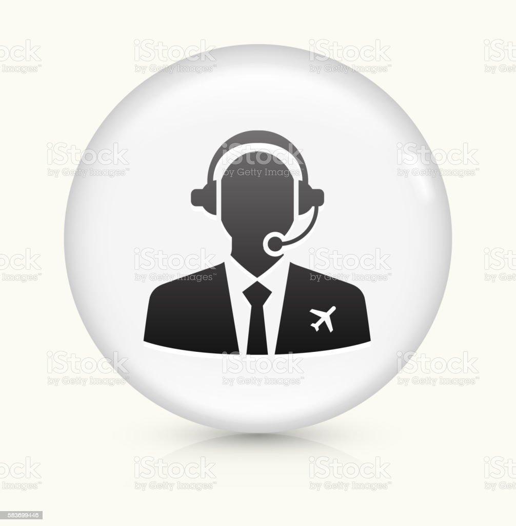 Flight Control icon on white round vector button vector art illustration
