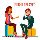 Flight Delayed, Cancelled Cartoon Vector Poster Template
