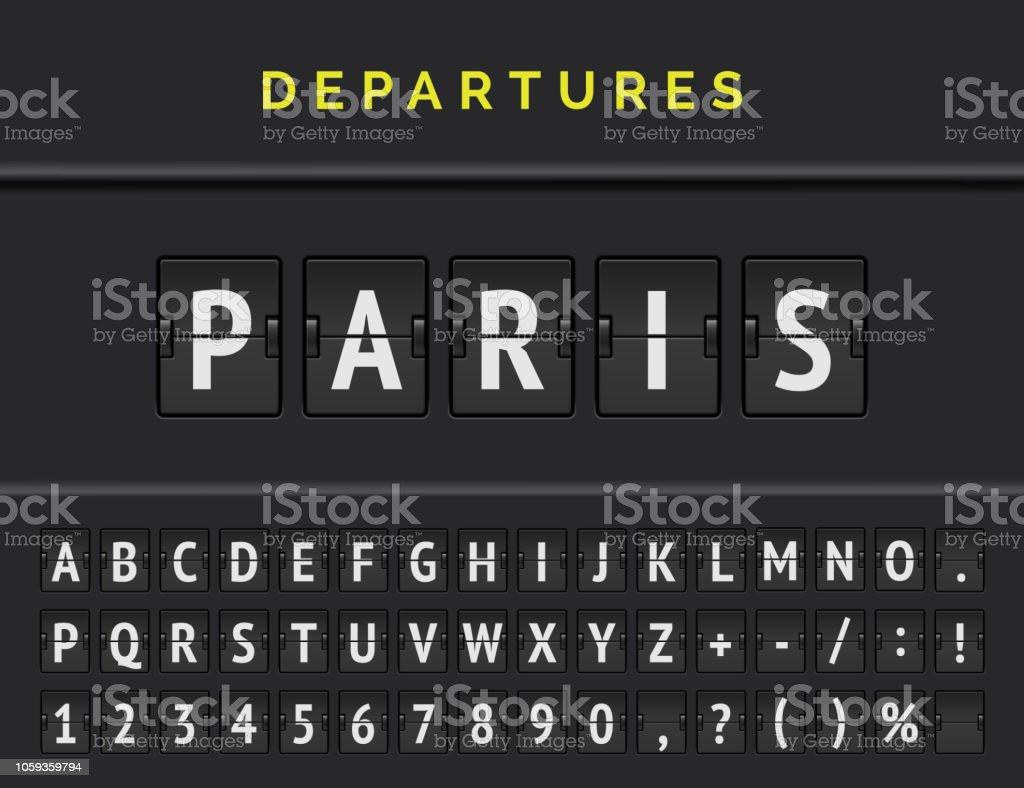 Flug Flip Board Schriftart zeigt Flughafen Abflug Ziel in Europa Paris. Vektor-illustration - Lizenzfrei Alphabet Vektorgrafik
