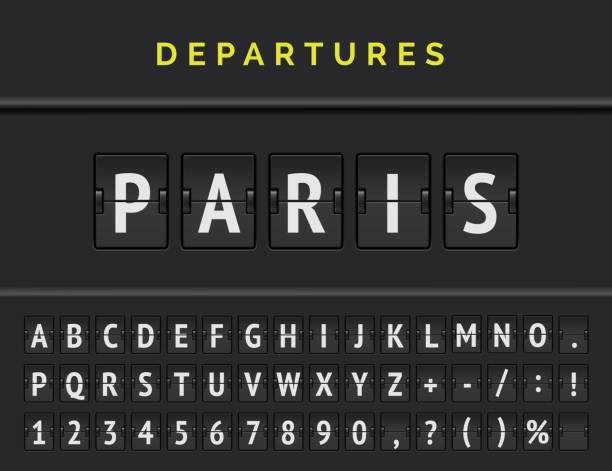 Flight flip board font displays airport departure destination in Europe Paris. Vector illustration Analog airport flip board displays flight info of departure destination in Europe Paris with aircraft sign icon and full font. Vector illustration airport stock illustrations