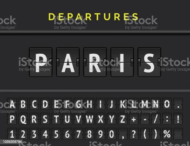 Flug Flip Board Schriftart Zeigt Flughafen Abflug Ziel In Europa Paris Vektorillustration Stock Vektor Art und mehr Bilder von Alphabet