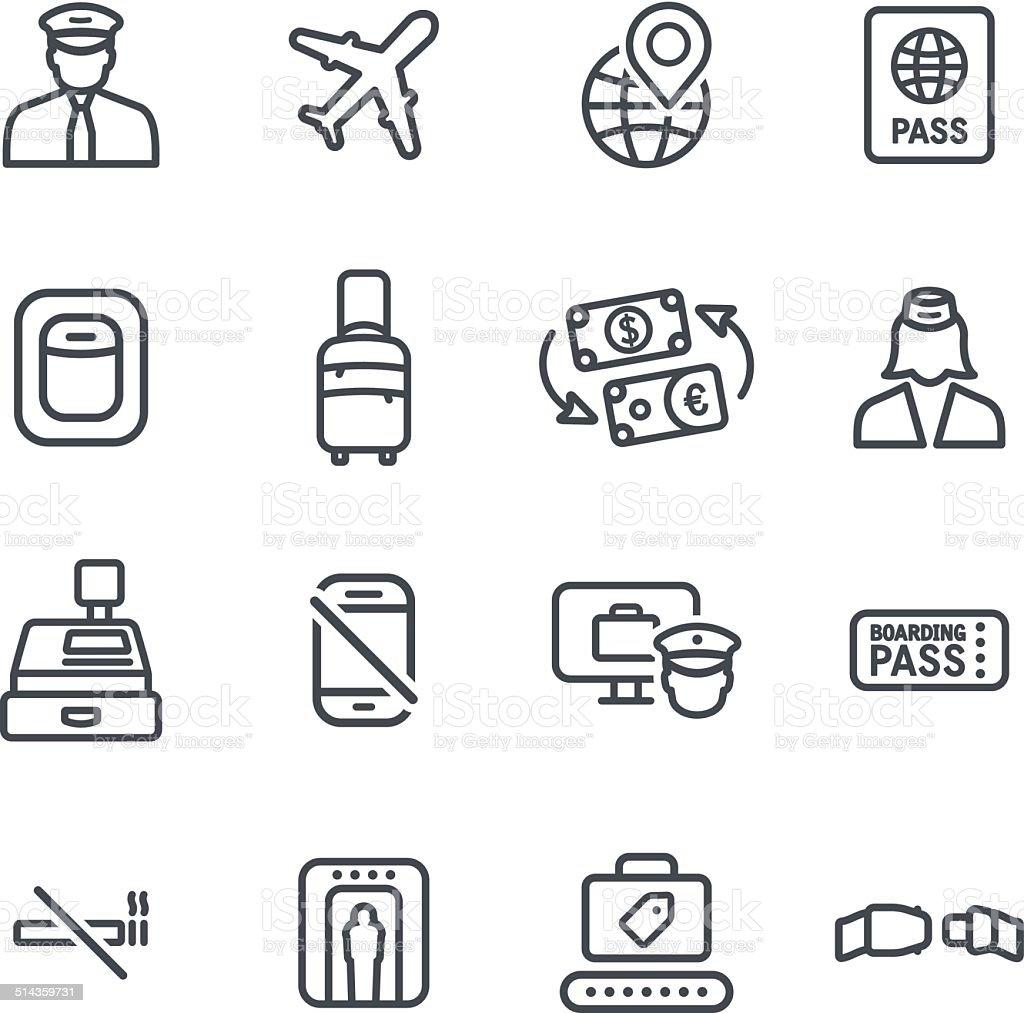 Flight Icons vector art illustration