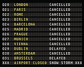 Flight information display at airport during a snow storm, vector