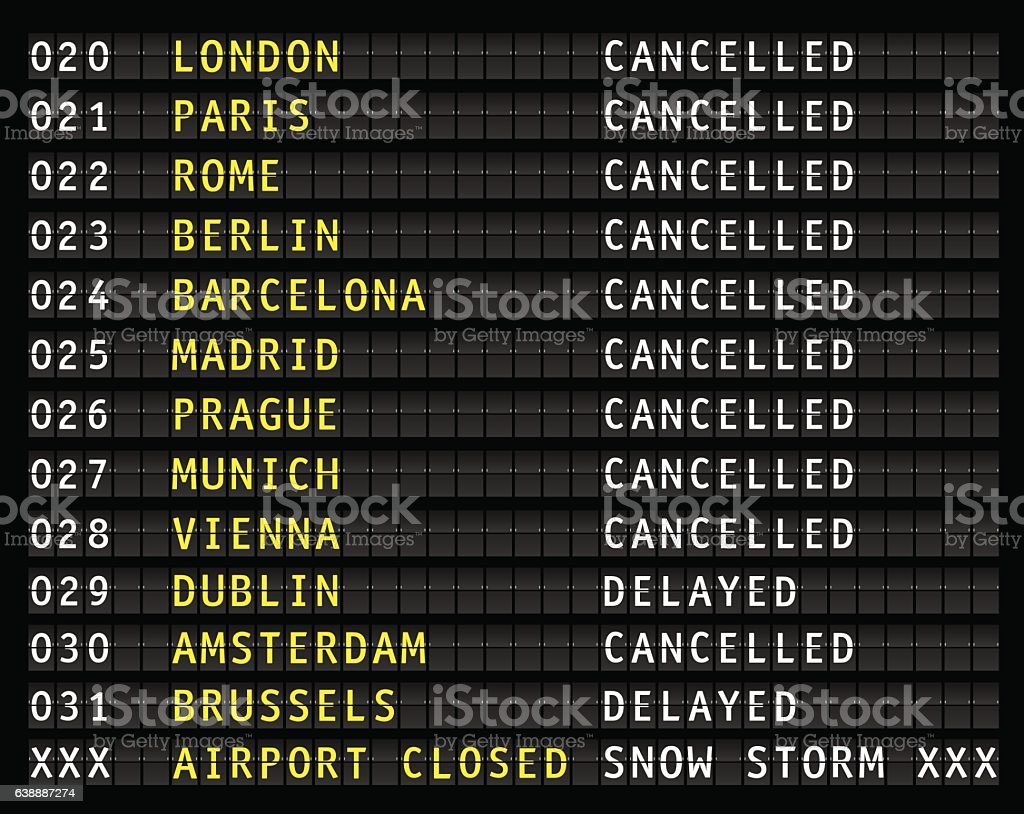 Flight information display during a blizzard – Vektorgrafik