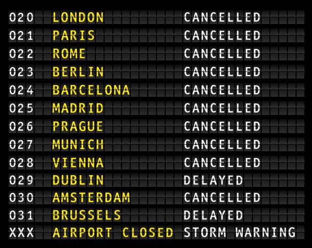 illustrations, cliparts, dessins animés et icônes de affichage des informations de vol sur un aéroport montrant les vols annulés en raison de l'avertissement de tempête, vecteur - terminal aéroportuaire