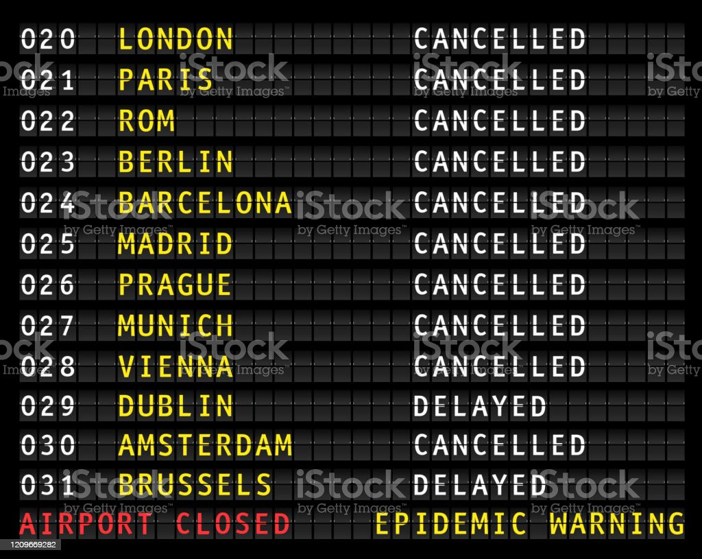 Flight information display showing cancelled flights because of corona epidemic warning, vector Flight information display showing cancelled flights because of corona epidemic warning, vector Accidents and Disasters stock vector