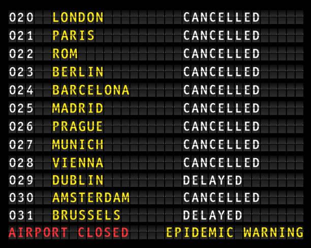 ilustrações de stock, clip art, desenhos animados e ícones de flight information display showing cancelled flights because of corona epidemic warning, vector - covid flight