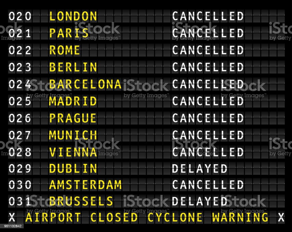 Flight information on airport displaying cancelled flights during a cyclone, vector vector art illustration