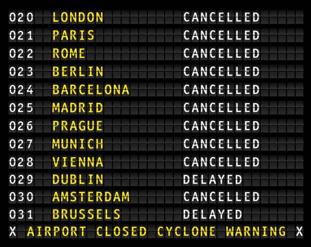 ilustrações, clipart, desenhos animados e ícones de informações sobre o aeroporto, exibindo os voos cancelados durante um ciclone de voo, vetor - esperar