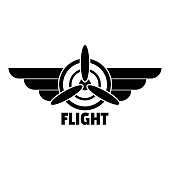 Flight logo. Simple illustration of flight vector logo for web design isolated on white background