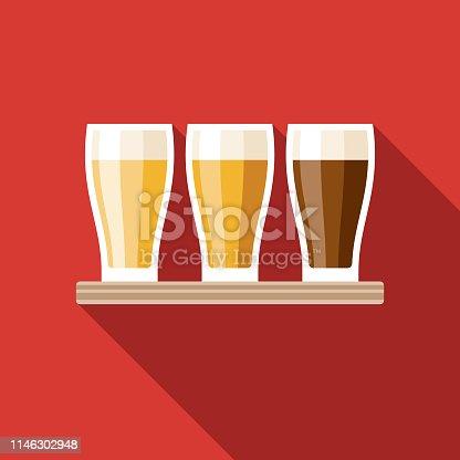istock Flight of Beer Flat Design Icon 1146302948