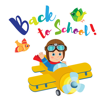 Flight Of Imagination. Welcome Back To School Funny Vector Illustration. Banner Education Concept.
