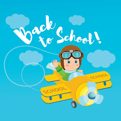 Flight Of Imagination. Welcome Back To School Vector Illustration. Banner Education Concept.