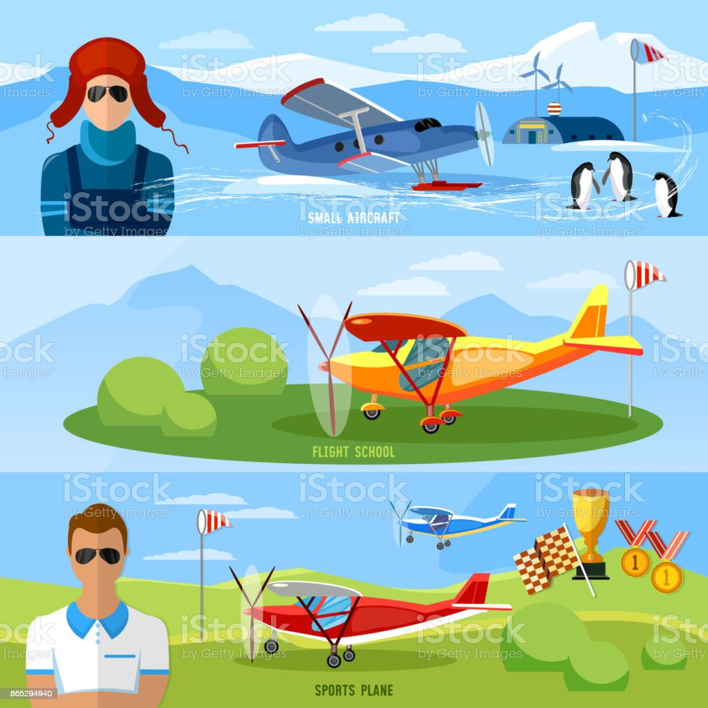 Flight on biplane banners,competitions of airplanes and biplanes, excursion flights, flying school professional pilot vector vector art illustration