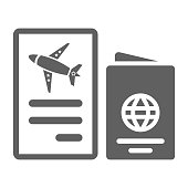 Flight, passport, air ticket icon is isolated on white background. Simple vector illustration for graphic and web design or commercial purposes.