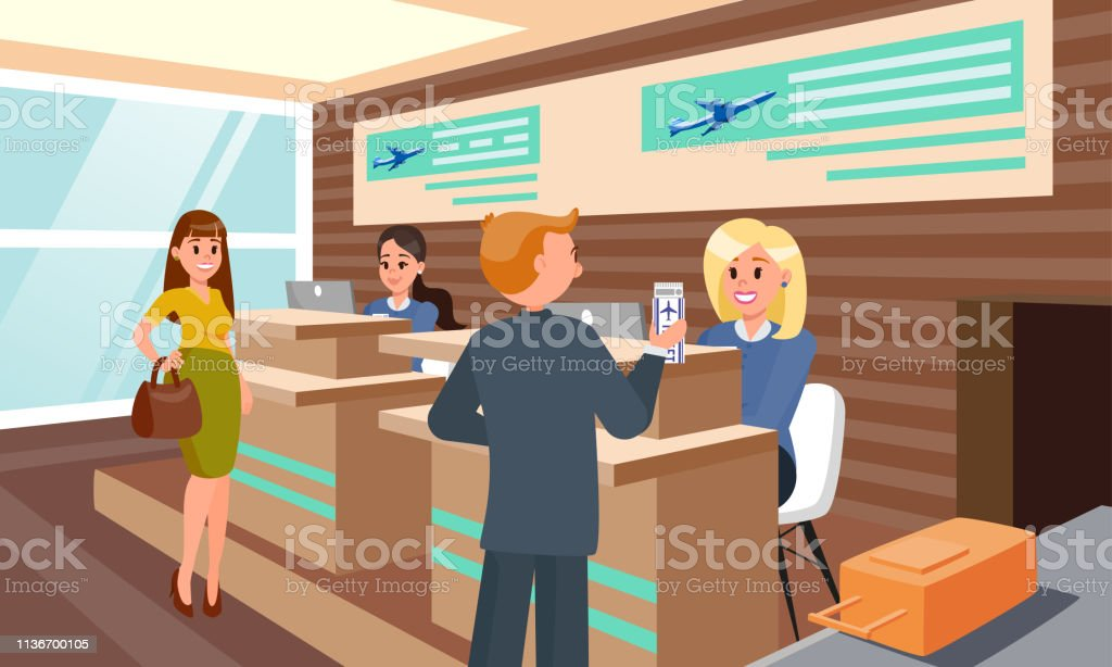 Flight Registration in Airport Flat Illustration. vector art illustration