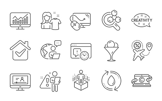 Flight sale, Project deadline and Statistics icons set. Ice cream, Computer mouse and Online video signs. Vector