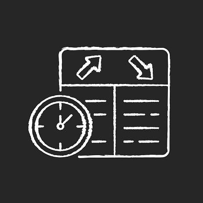 Flight scheduling chalk white icon on black background