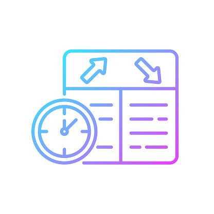 Flight scheduling gradient linear vector icon