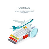 Flight search and airplane tickets service concept. Vector 3d isometric illustration of tickets, aircraft and magnifier.