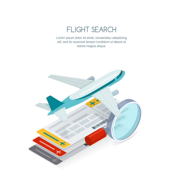 Flight search and airplane tickets service concept. Vector 3d isometric illustration of tickets, aircraft and magnifier. vector art illustration
