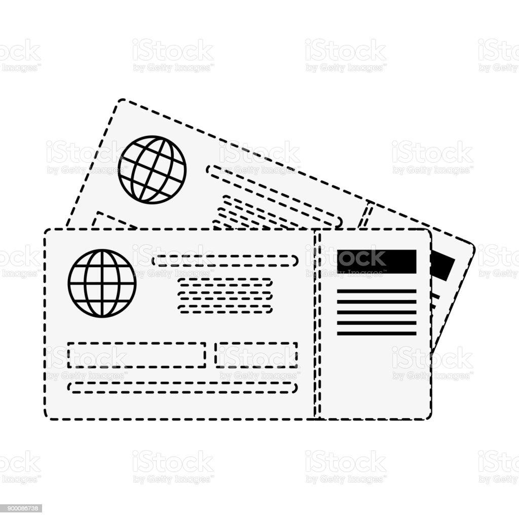 Billetes de avión aislados - ilustración de arte vectorial