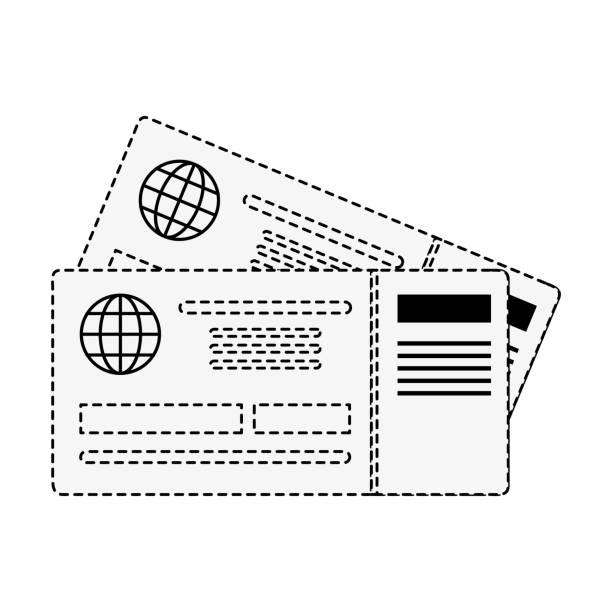 ilustraciones, imágenes clip art, dibujos animados e iconos de stock de billetes de avión aislados - regreso a clases