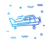 Flight training outline style icon design with decorations and gradient color. Line vector icon illustration for modern infographics, mobile designs and web banners.